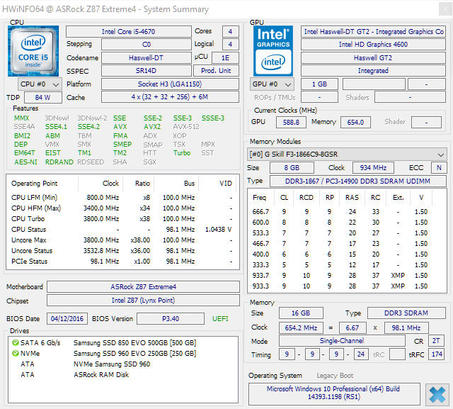 Configuration ASRock for Normal Mode CPU 3800Mhz, RAM 654Mhz, 1.04V